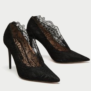 NWT Zara Lace Collar High Heels - Black, Size 35